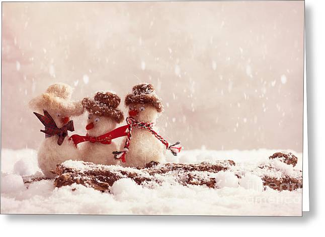 Gossiping Snowmen Greeting Card