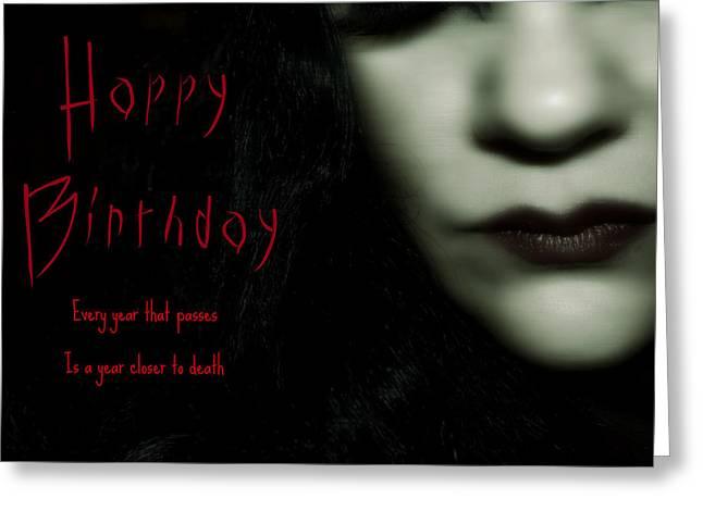 Goth Birthday Card Greeting Card by Lisa Knechtel