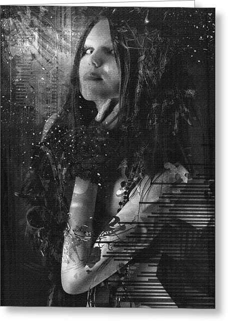 Goth Girl - Black And White Greeting Card by Rosemary Smith