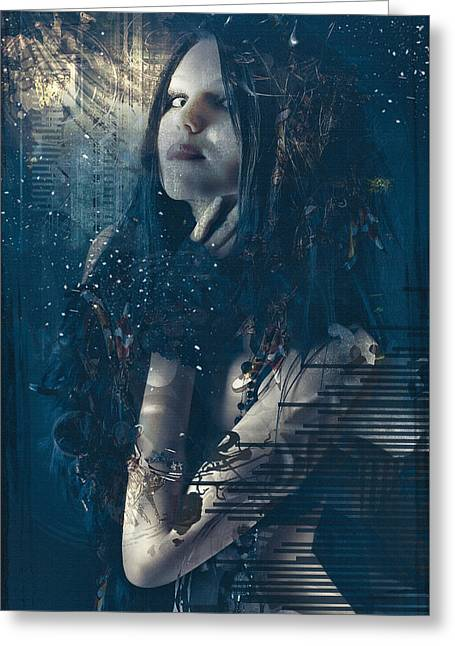 Goth Girl Greeting Card by Rosemary Smith