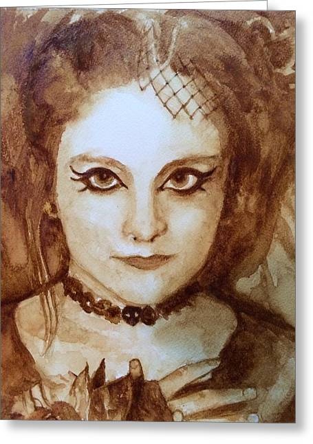 Goth Lady Greeting Card by Chrissey Dittus