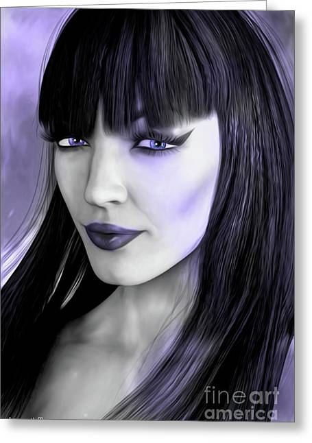 Goth Portrait Purple Greeting Card by Alicia Hollinger