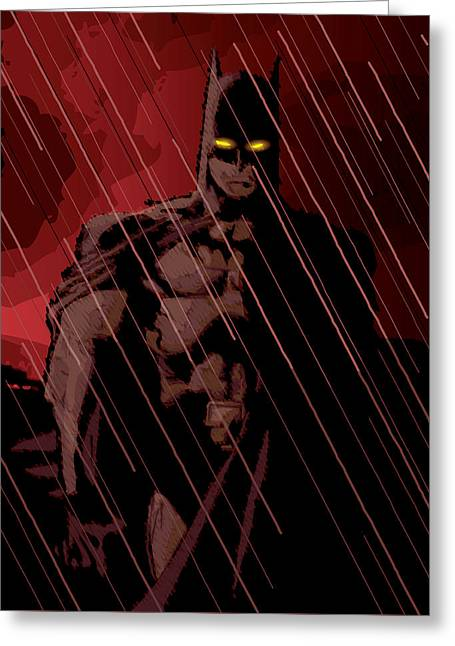 Gotham Knight Greeting Card by Michael Lee
