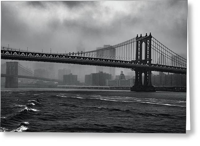 Manhattan Bridge In A Storm Greeting Card