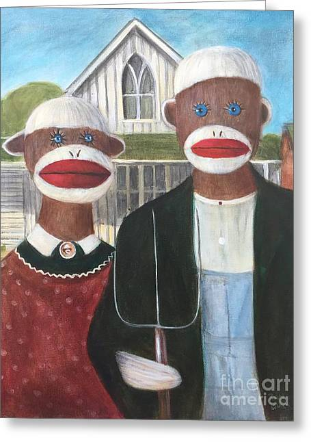 Greeting Card featuring the painting Gothic American Sock Monkeys by Randol Burns