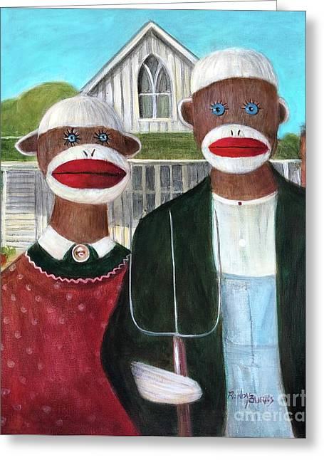 Gothic American Sock Monkeys Greeting Card
