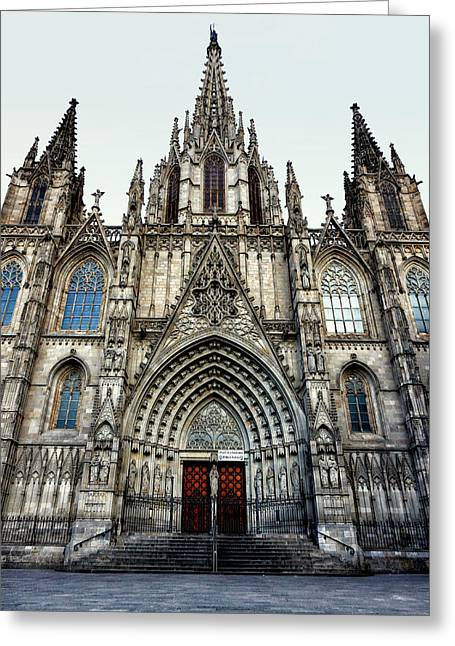 Gothic Cathedral Of The Holy Cross And Saint Eulalia Greeting Card by Abel Santos