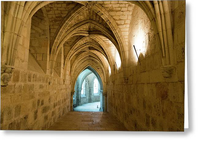 Gothic Church. Crypt. France. Europe. Greeting Card by Bernard Jaubert