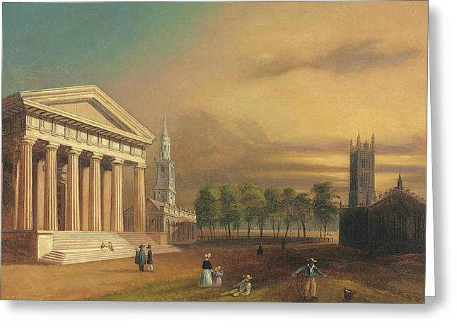 Gothic Church, New Haven Greeting Card by William Henry Bartlett