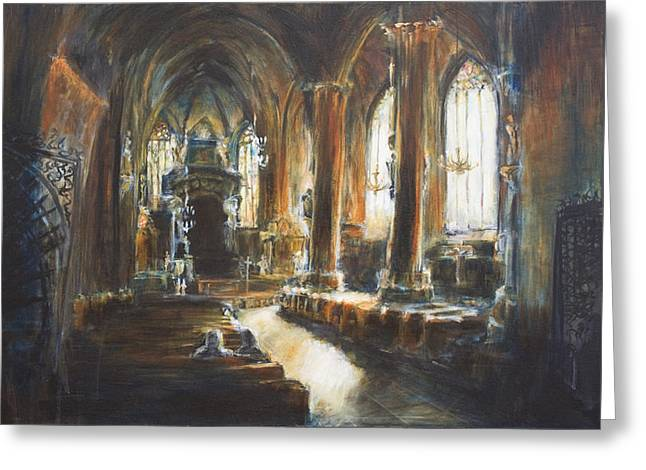 Gothic Church Greeting Card by Nik Helbig