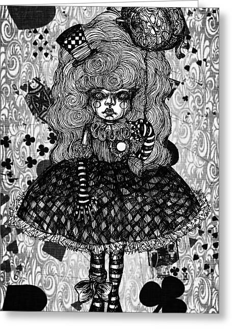 Gothic Cute Girl Greeting Card by Akiko Okabe
