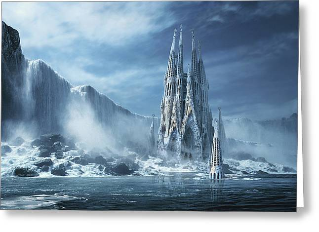 Gothic Fantasy Or Expiatory Temple Greeting Card