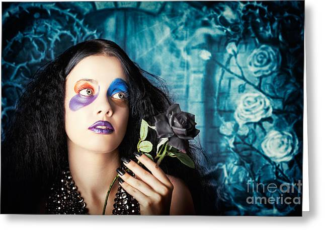 Gothic Girl Holding Black Rose. Death And Mourning Greeting Card by Jorgo Photography - Wall Art Gallery