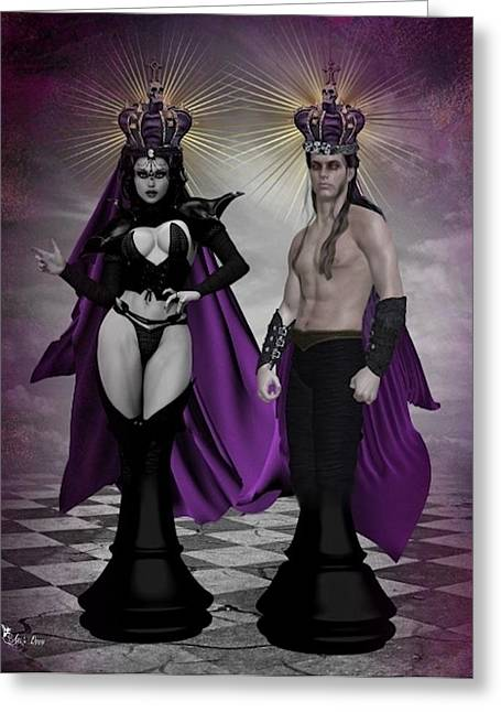 Gothic King And Queen Chess Pieces Greeting Card by Ali Oppy