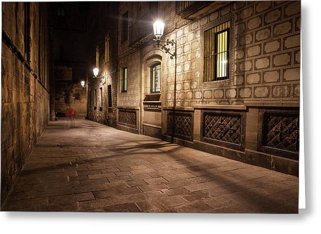 Gothic Quarter Of Barcelona At Night Greeting Card by Artur Bogacki