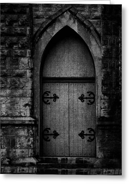 Gothic Door Memphis Church Bw Greeting Card