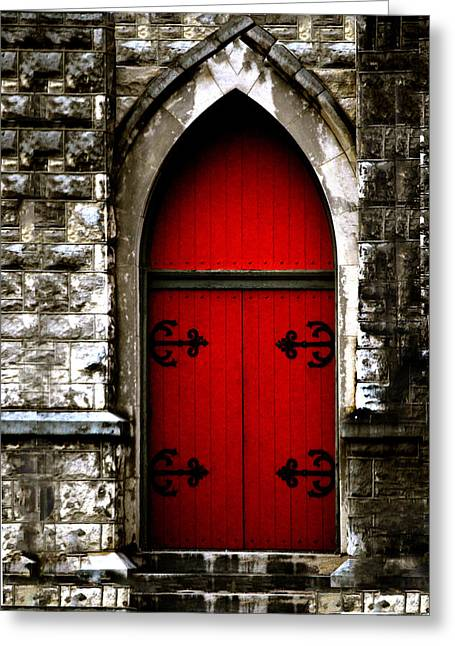 Gothic Red Door Memphis Church Greeting Card