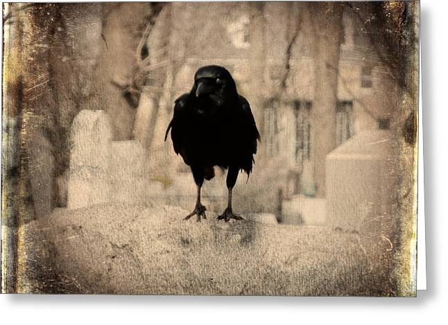 Gothic Sepia Crow Greeting Card