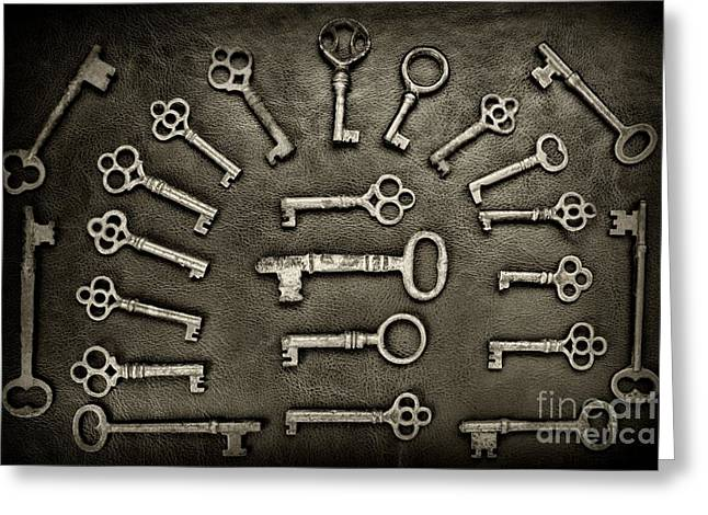 Gothic Skeleton Key Collection In Black And White Greeting Card by Paul Ward