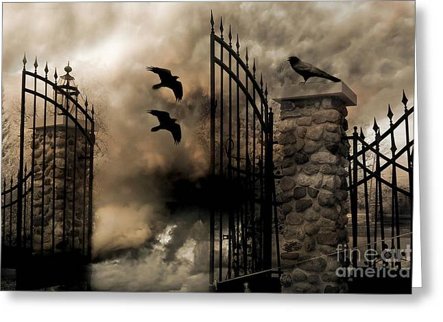 Gothic Surreal Fantasy Ravens Gated Fence  Greeting Card by Kathy Fornal