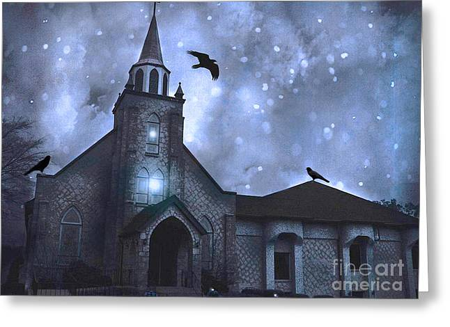 Gothic Surreal Old Church With Ravens And Stars - Winter Night Greeting Card by Kathy Fornal