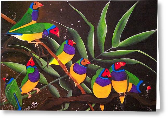 Gouldian Finch Rainbow Greeting Card by Una  Miller