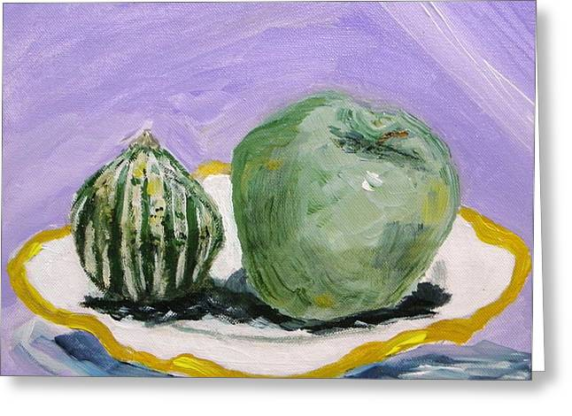 Gourd And Green Apple On Haviland Greeting Card by Mary Carol Williams