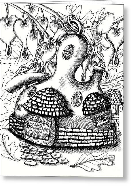 Gourd Fairy House With Snail And Preying Mantis Greeting Card by Dawn Boyer