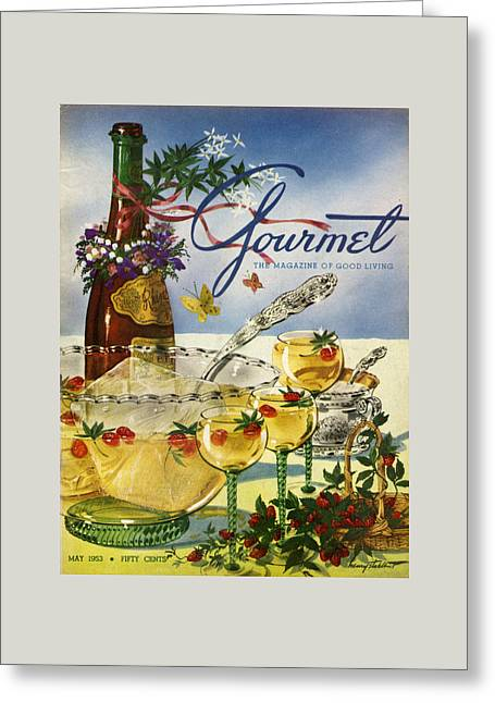 Gourmet Cover Featuring A Bowl And Glasses Greeting Card by Henry Stahlhut