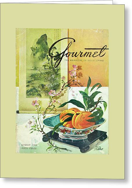 Gourmet Cover Featuring A Bowl Of Peaches Greeting Card by Henry Stahlhut