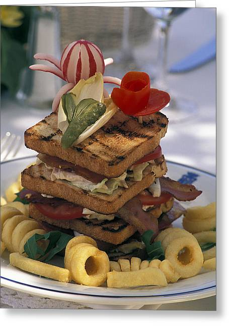 Gourmet Sandwich Served On A Balcony Greeting Card by Richard Nowitz