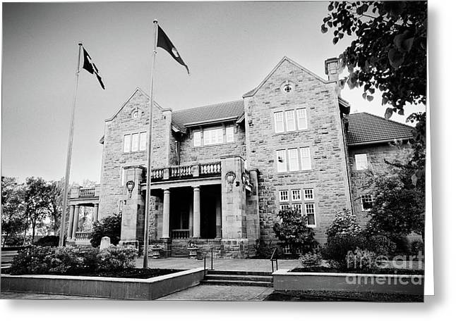 Government House Black And White Greeting Card by Ian MacDonald
