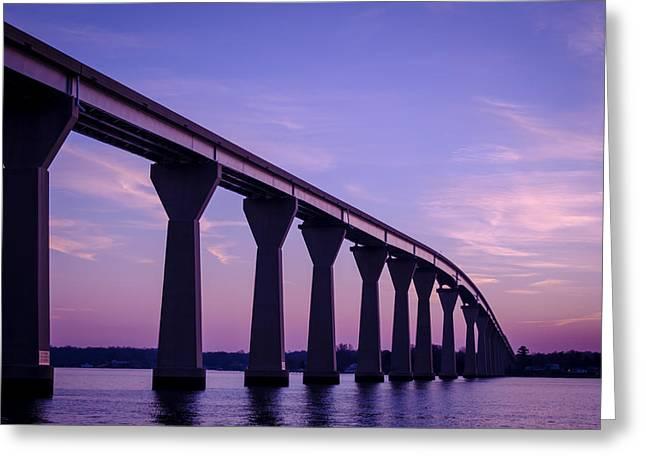 Famous Bridge Greeting Cards - Governor Thomas Johnson Bridge in Purple  Greeting Card by Anik Sales