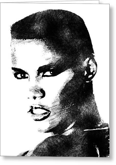 Grace Jones Bw Portrait Greeting Card