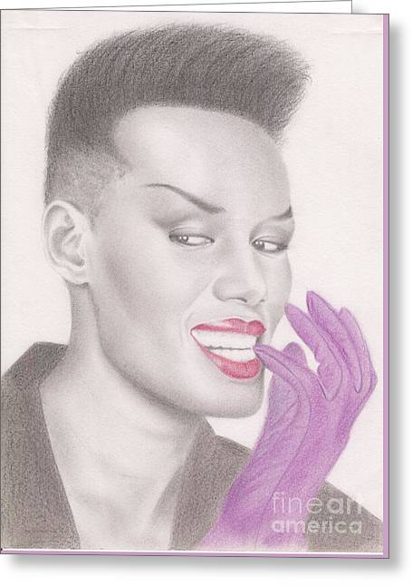 Greeting Card featuring the drawing Grace Jones by Eliza Lo