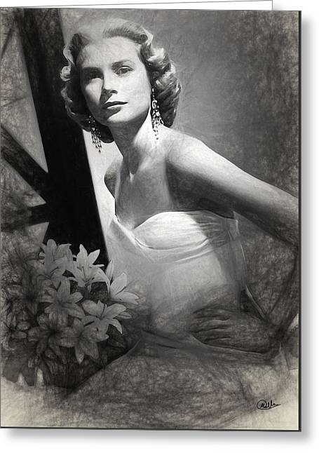 Grace Kelly Drawing Greeting Card by Quim Abella