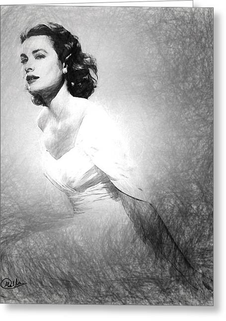 Grace Kelly Sketch Greeting Card by Quim Abella