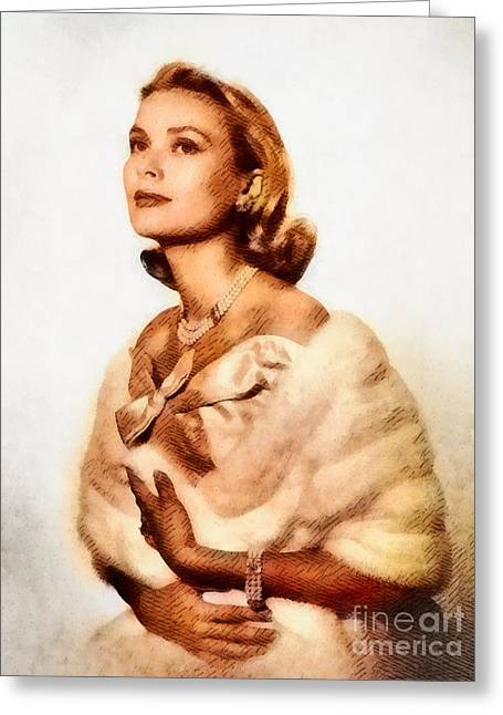 Grace Kelly, Vintage Actress By John Springfield Greeting Card