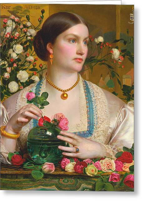 Grace Rose Greeting Card by Frederick Sandys