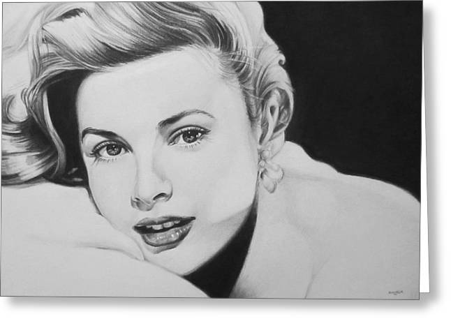 Charcoal Portrait Greeting Cards - Grace Greeting Card by Steve Hunter