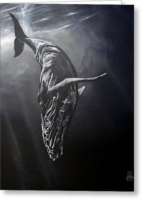Humpback Whale Paintings Greeting Cards - Graceful Descent Greeting Card by Marco Antonio Aguilar