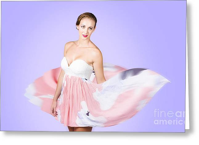 Graceful Dreamy Dancing Girl In Pink Dress Greeting Card by Jorgo Photography - Wall Art Gallery