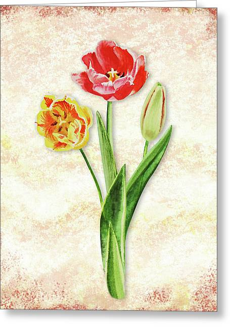 Greeting Card featuring the painting Graceful Watercolor Tulips by Irina Sztukowski
