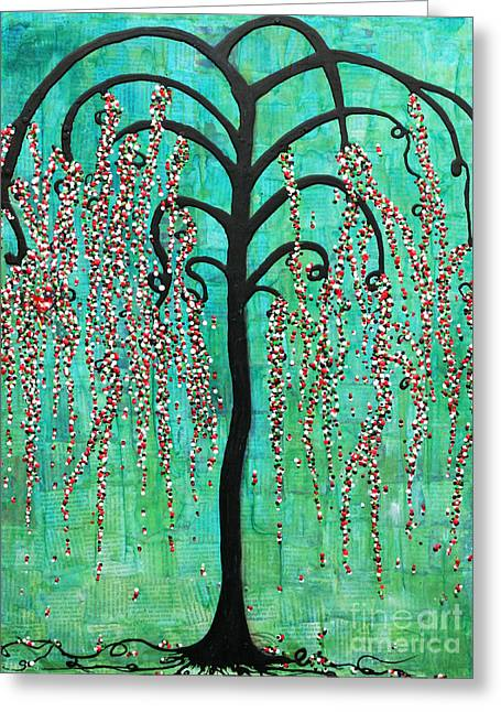 Greeting Card featuring the mixed media Graceful Willow Print by Natalie Briney