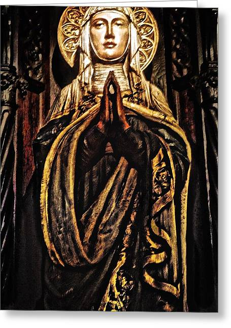Gracious Virgin Mary Greeting Card by Joan Reese