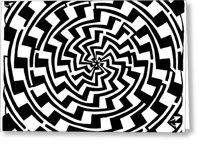 Gradient Tunnel Spin Maze Greeting Card by Yonatan Frimer Maze Artist