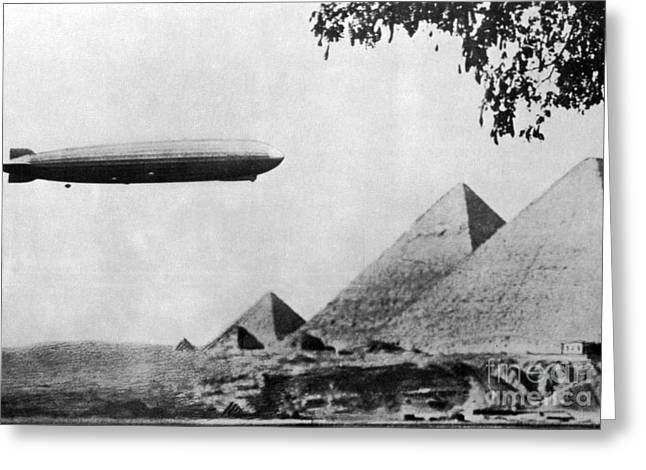 Graf Zeppelin Over Giza Pyramids 1931 Greeting Card by Science Source