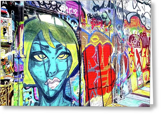 Greeting Card featuring the drawing Graffiti Alley, Boston, Ma by Patti Ferron