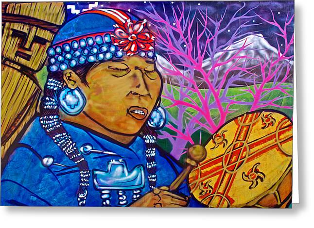 Graffiti Art Of Native Woman Drumming In Valparaiso-chile  Greeting Card by Ruth Hager