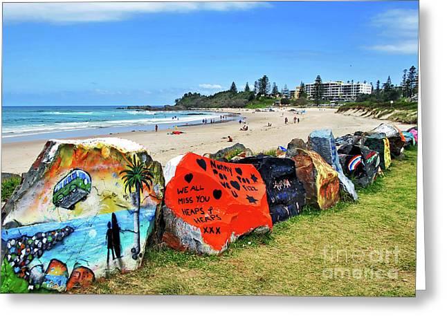 Graffiti At The Beach Greeting Card by Kaye Menner